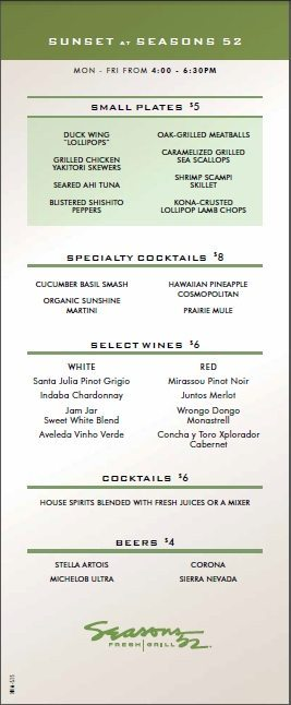 seaons 52 happy hour menu
