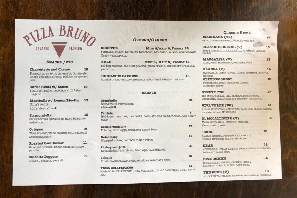 Pizza Bruno brunch menu